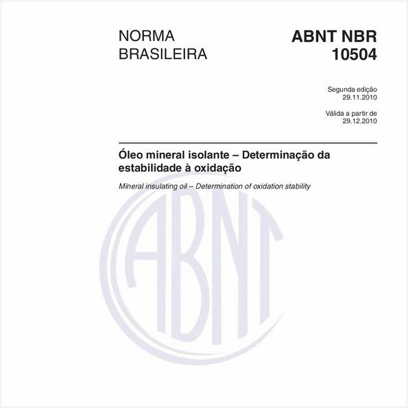Óleo mineral isolante – Determinação da estabilidade à oxidação