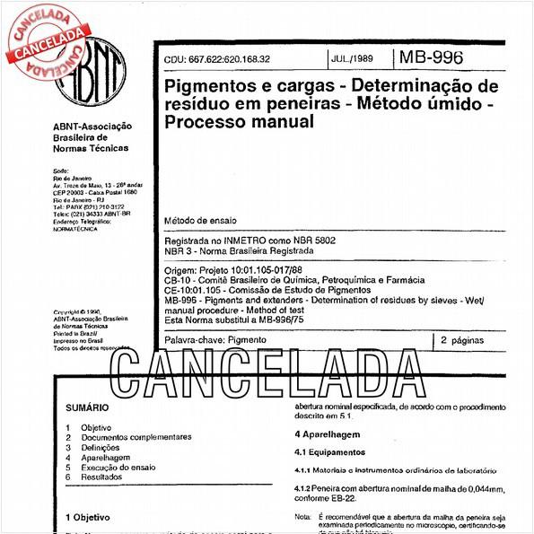 Pigmentos e cargas - Determinação de resíduo em peneiras - Método úmido - Processo manual