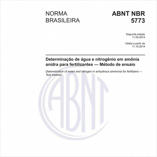 Determinação de água e nitrogênio em amônia anidra para fertilizantes - Método de ensaio