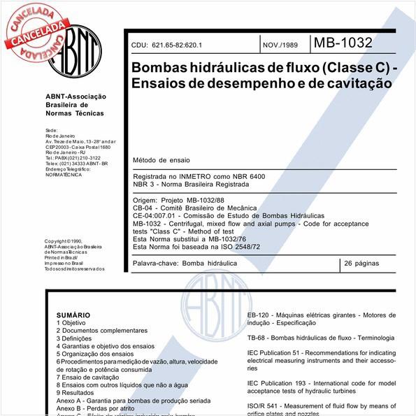Bombas hidráulicas de fluxo (classe C) - Ensaios de desempenho e de cavitação
