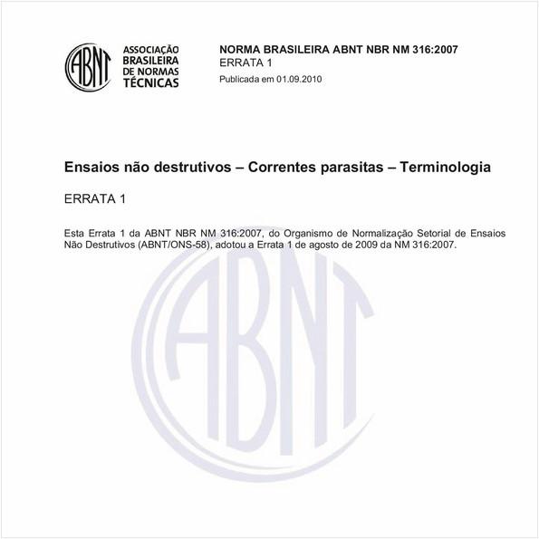 Ensaios não destrutivos - Correntes parasitas - Terminologia