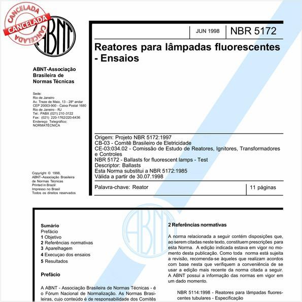Reatores para lâmpadas fluorescentes - Ensaios