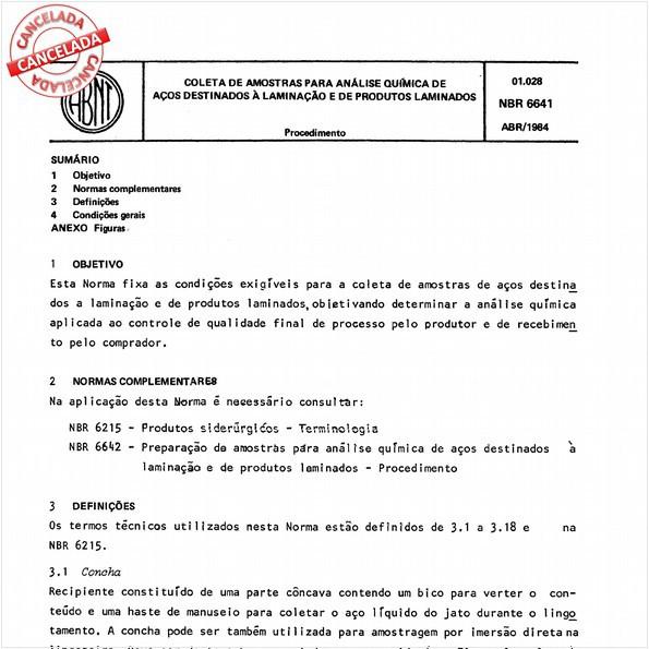 Coleta de amostras para análise química de aços destinados à laminação e de produtos laminados