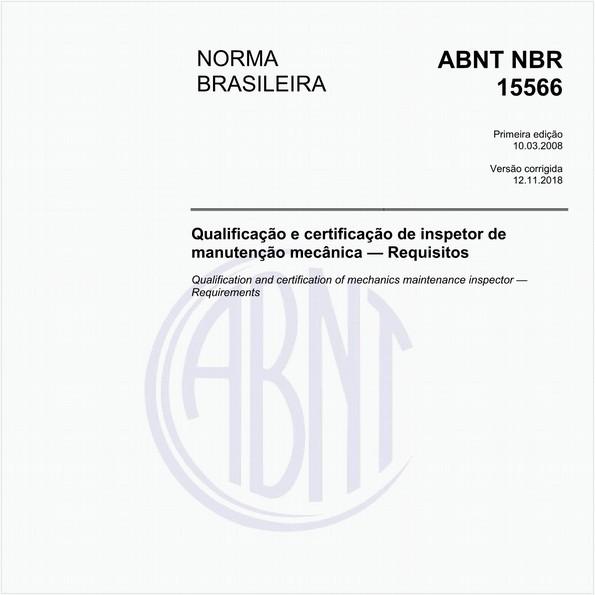 Qualificação e certificação de inspetor de manutenção mecânica - Requisitos