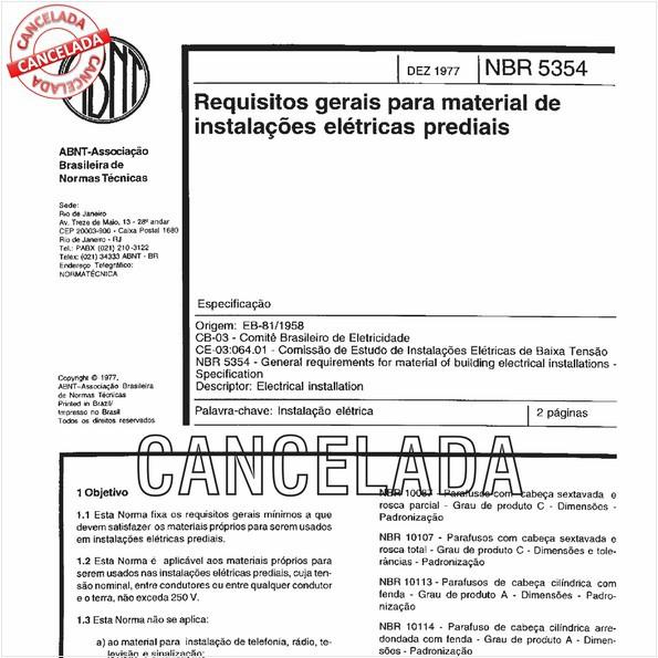 Requisitos gerais para material de instalações elétricas prediais