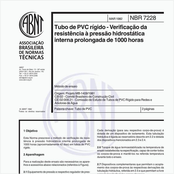 Tubo de PVC rígido - Verificação da resistência à pressão hidrostática interna prolongada de 1000 horas