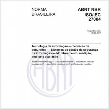 NBRISO/IEC27004 de 08/2017
