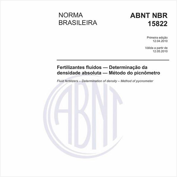 Fertilizantes fluidos — Determinação da densidade absoluta — Método do picnômetro