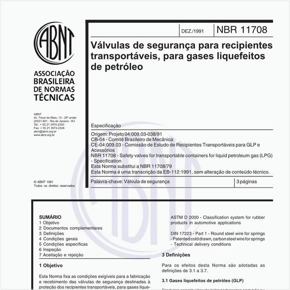 Válvulas de segurança para recipientes transportáveis, para gases liquefeitos de petróleo - Especificação