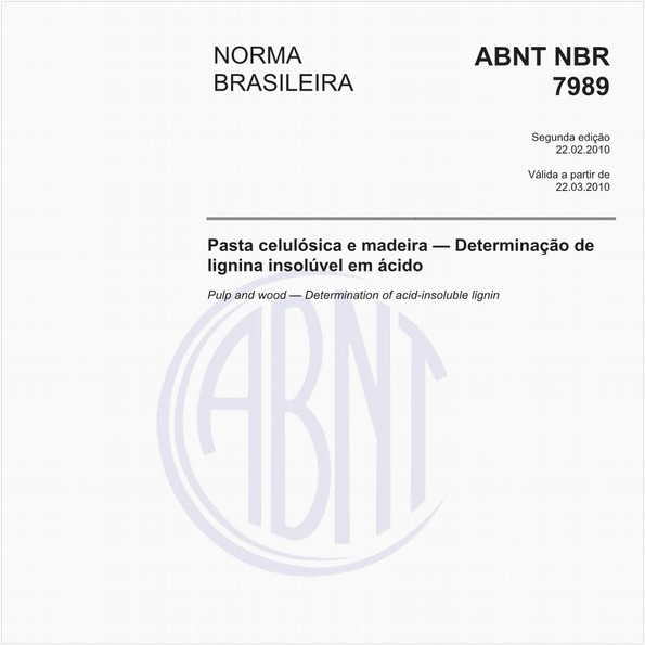 Pasta celulósica e madeira - Determinação de lignina insolúvel em ácido