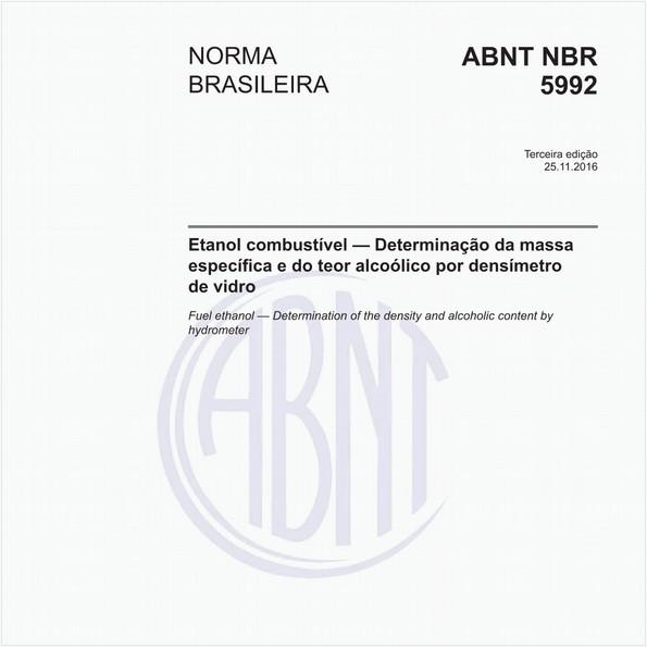 Etanol combustível — Determinação da massa específica e do teor alcoólico por densímetro de vidro