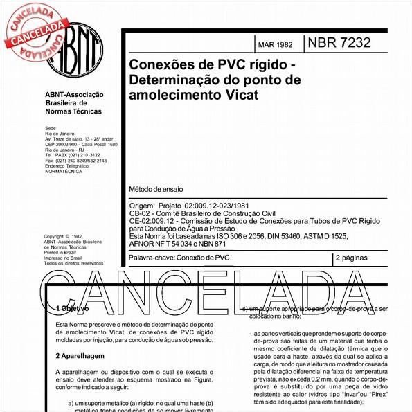 Conexões de PVC rígido - Determinação do ponto de amolecimento Vicat