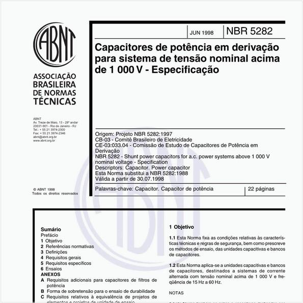 Capacitores de potência em derivação para sistema de tensão nominal acima de 1 000 V