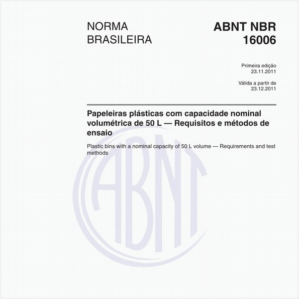 Papeleiras plásticas com capacidade nominal volumétrica de 50 L — Requisitos e métodos de ensaio