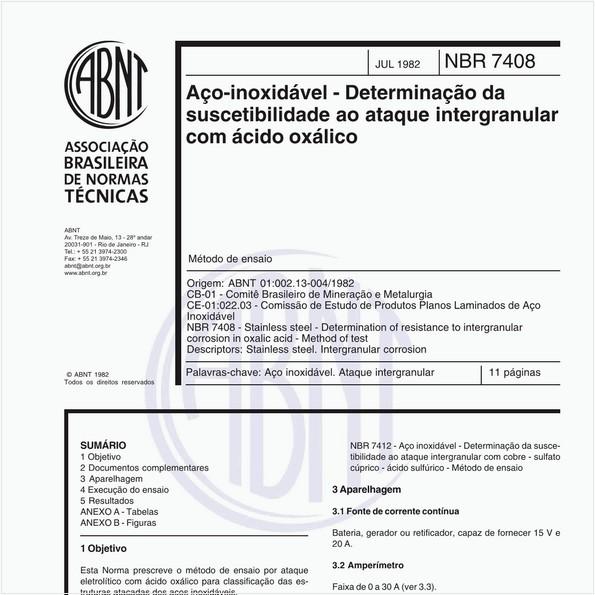 Aço-inoxidável - Determinação da suscetibilidade ao ataque intergranular com ácido oxálico