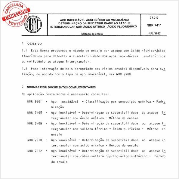 Aço inoxidável austenítico ao molibdênio - Determinação da suscetibilidade ao ataque intergranular com ácido nítrico - Acido fluorídrico
