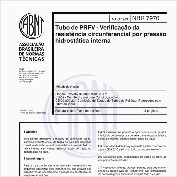 Tubo de PRFV - Verificação da resistência circunferencial por pressão hidrostática interna - Método de ensaio
