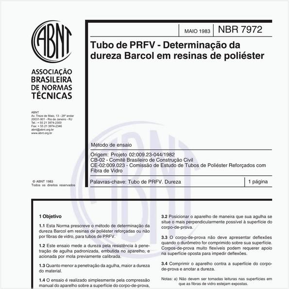 Tubo de PRFV - Determinação da dureza Barcol em resinas de poliéster - Método de ensaio
