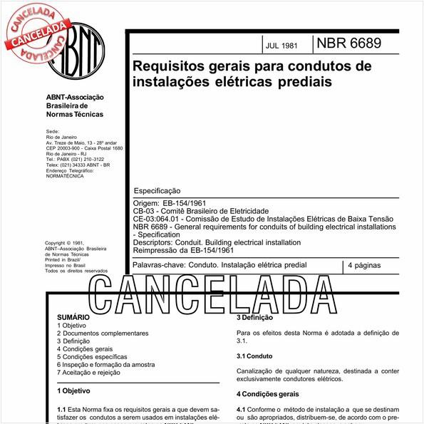 Requisitos gerais para condutos de instalações elétricas prediais