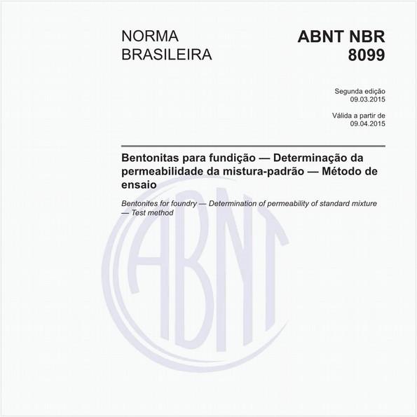 Bentonitas para fundição — Determinação da permeabilidade da mistura-padrão — Método de ensaio
