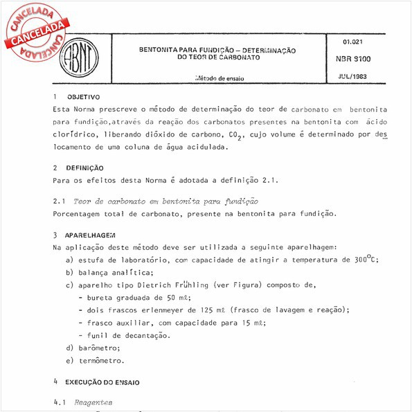 Bentonita para fundição - Determinação do teor de carbonato