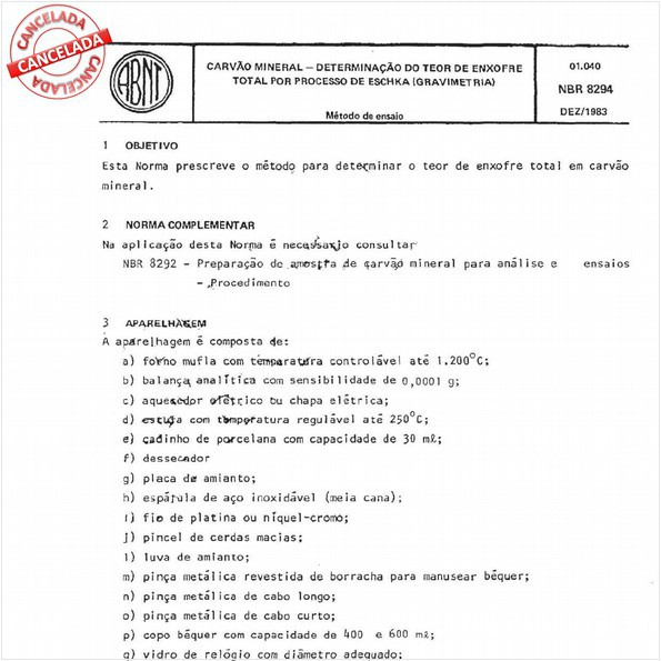 Carvão mineral - Determinação do teor de enxofre total por processo de Eschka (gravimetria)