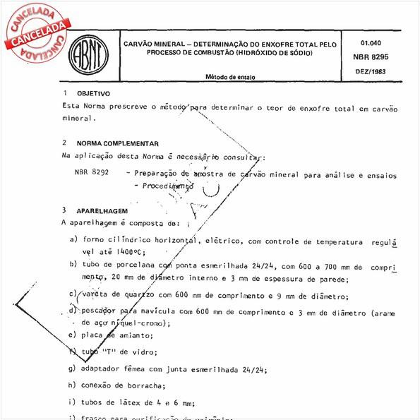 Carvão mineral - Determinação do enxofre total pelo processo de combustão (hidróxido de sódio)