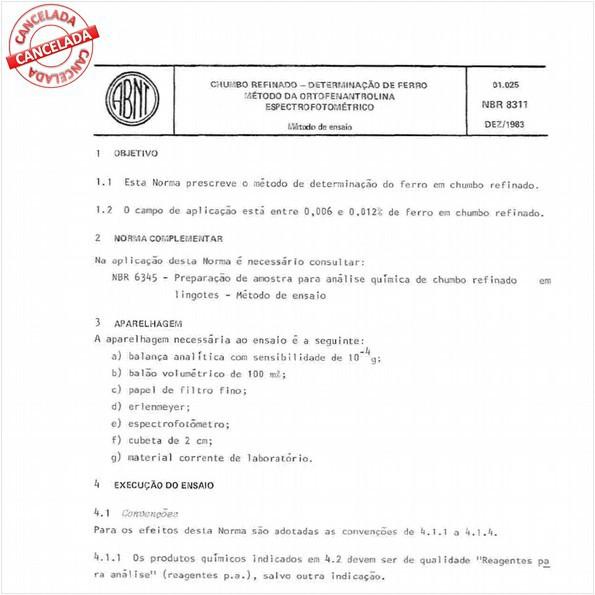 Chumbo refinado - Determinação de ferro - Método da ortofenantrolina - Espectrofotométrico