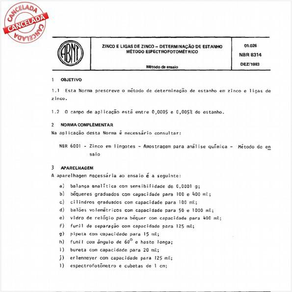 Zinco e ligas de zinco - Determinação de estanho - Método espectrofotométrico