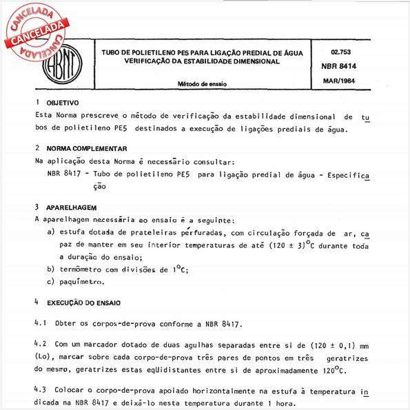 Tubo de polietileno PE 5 para ligação predial de água - Verificação da estabilidade dimensional