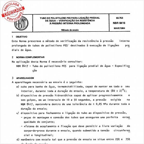 Tubo de polietileno PE 5 para ligação predial de água - Verificação da resistência à pressão interna prolongada