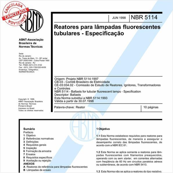 Reatores para lâmpadas fluorescentes tubulares - Especificação