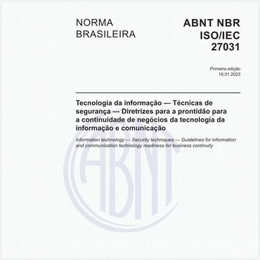 NBRISO/IEC27031 de 01/2015