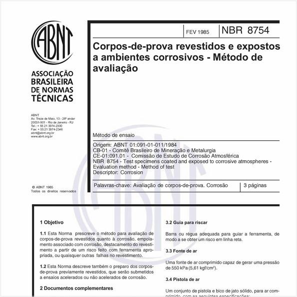 Corpos-de-prova revestidos e expostos a ambientes corrosivos - Método de avaliação - Método de ensaio