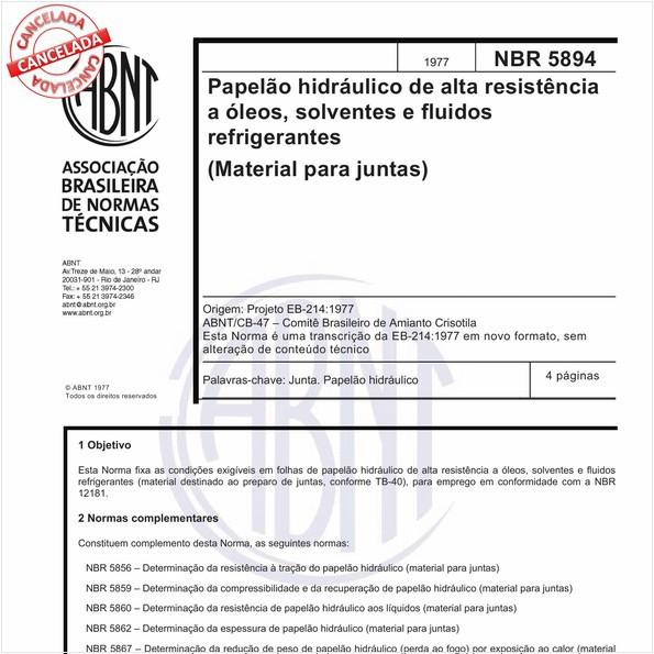 Papelão hidráulico de alta resistência a óleos, solventes e fluidos refrigerantes (Material para Juntas)