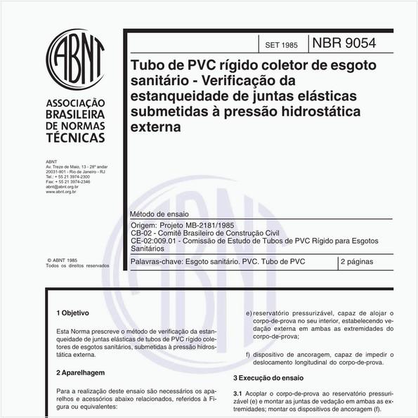 Tubo de PVC rígido coleto de esgoto sanitário - Verificação da estanqueidade de juntas elásticas submetidas à pressão hidrostática externa - Método de ensaio