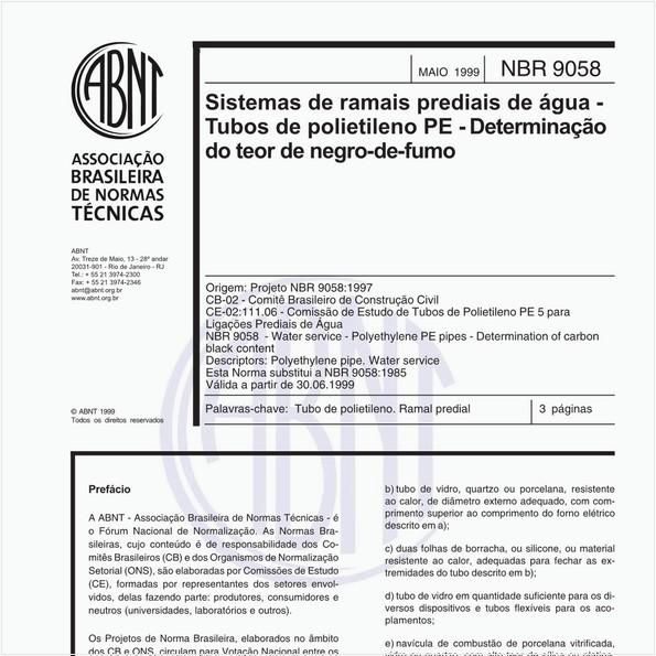 Sistemas de ramais prediais de água - Tubos de polietileno PE - Determinação do teor de negro-de-fumo