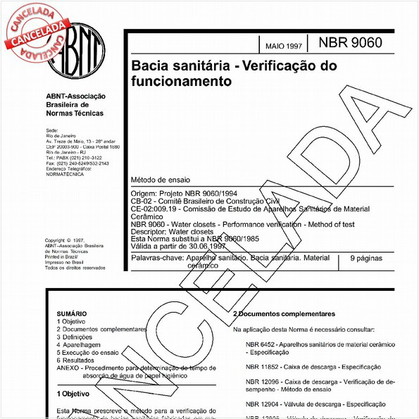 Bacia sanitária - Verificação do funcionamento
