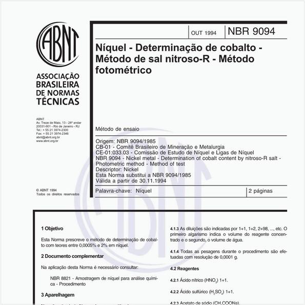 Níquel - Determinação de cobalto - Médodo de sal nitroso-R - Método fotométrico - Método de ensaio