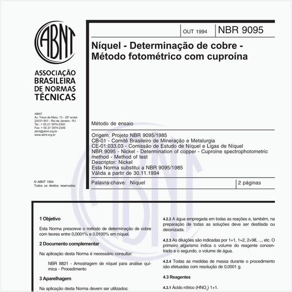 Níquel - Determinação de cobre - Médodo fotométrico com cuproína - Método de ensaio