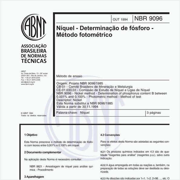 Níquel - Determinação de fósforo - Método fotométrico - Método de ensaio