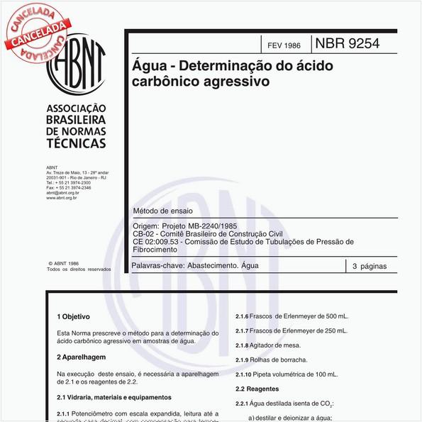 Água - Determinação do ácido carbônico agressivo - Método de ensaio
