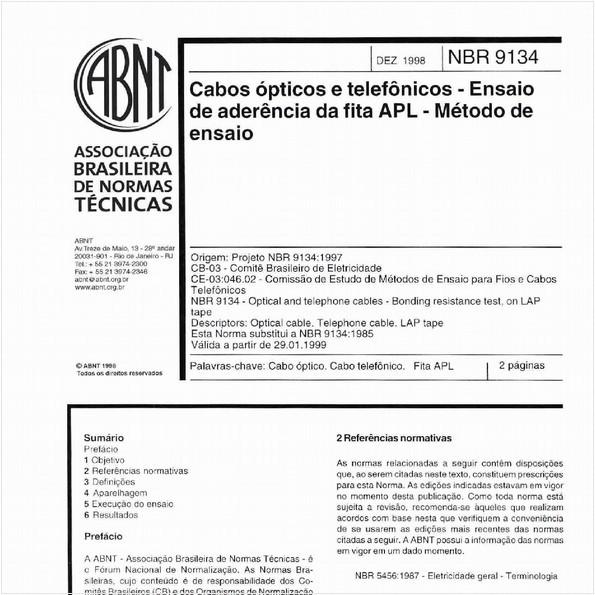 Cabos ópticos e telefônicos - Ensaio de aderência da fita APL - Método de ensaio