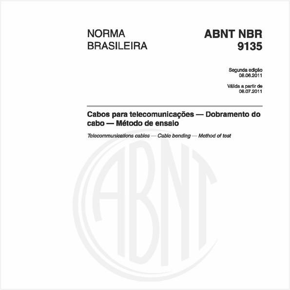 Cabos para telecomunicações — Dobramento do cabo — Método de ensaio