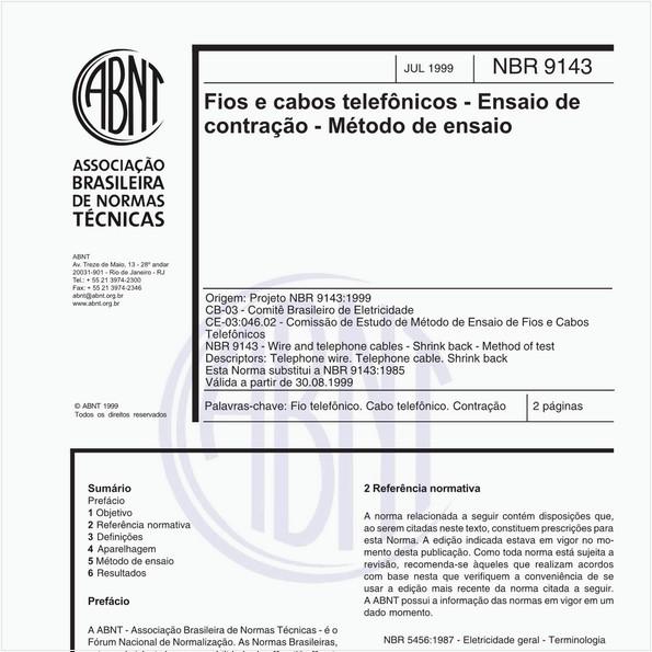 Fios e cabos telefônicos - Ensaios de contração - Método de ensaio