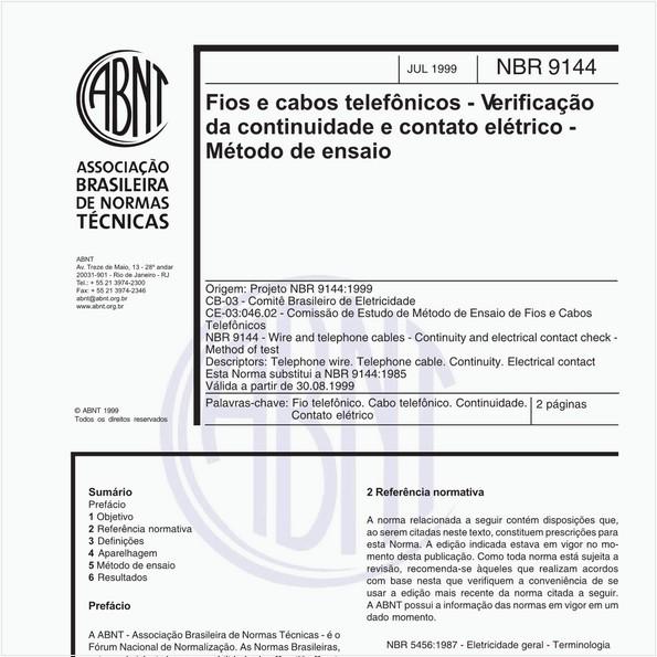 Fios e cabos telefônicos - Verificação da continuidade e contato elétrico - Método de ensaio