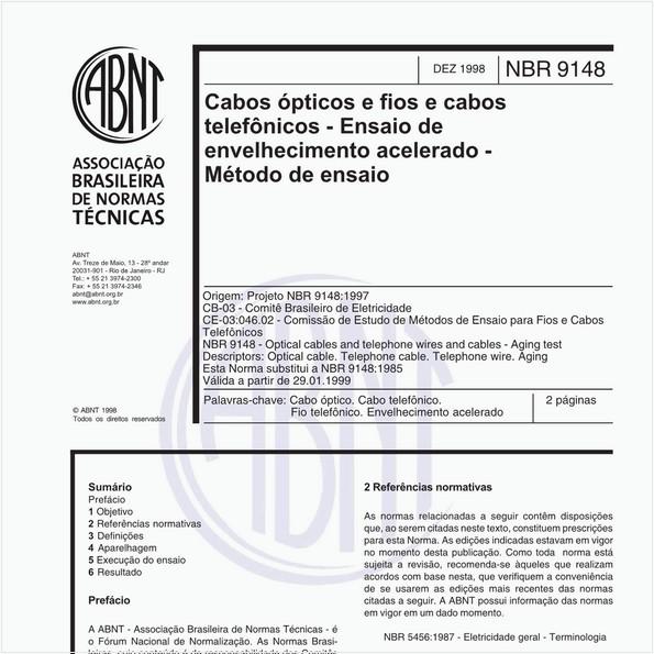 Cabos ópticos e fios e cabos telefônicos - Ensaio de envelhecimento acelerado - Método de ensaio