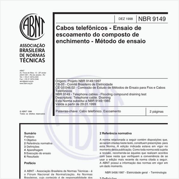 Cabos telefônicos - Ensaios de escoamento do composto de enchimento - Método de ensaio