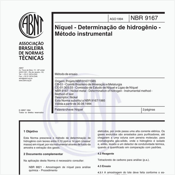 Níquel - Determinação de hidrogênio - Método instrumental - Método de ensaio