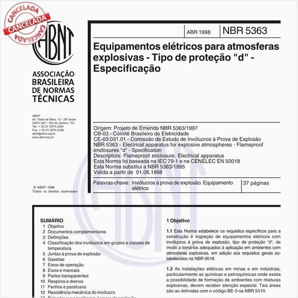"""Equipamentos elétricos para atmosferas explosivas - Tipo de proteção """"d"""" - Especificação"""